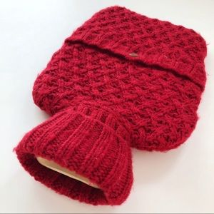 INDIGO Hot Water Bottle with Red Knit Cover